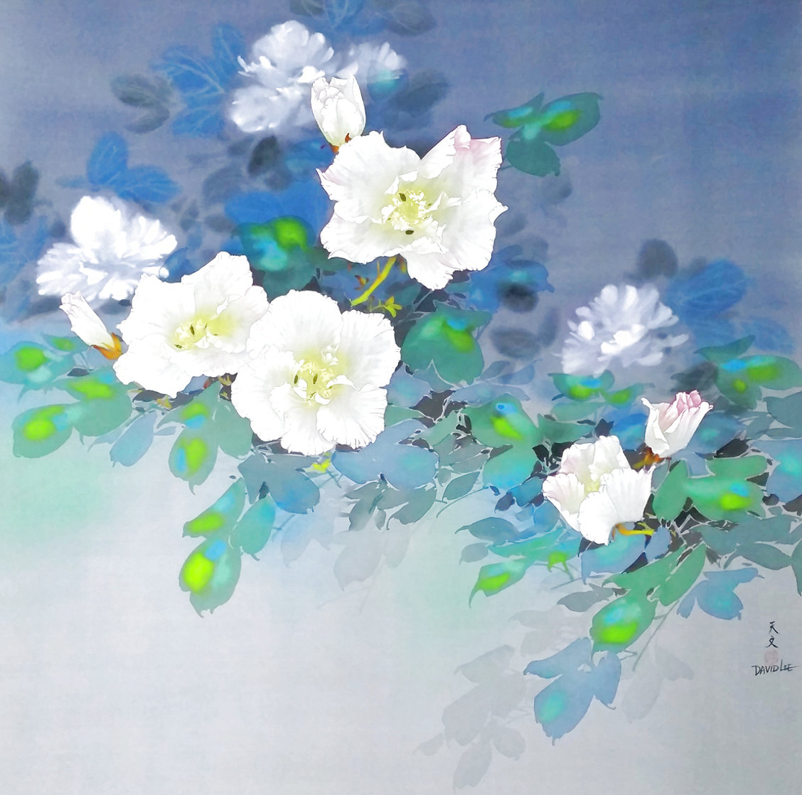 Untitled (White Blossoms) 1990 48x48 Huge Original Painting by David Lee
