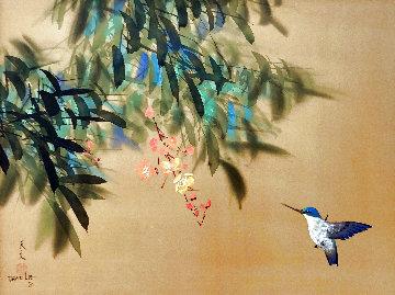 Untitled Hummingbird in Flight Watercolor 1980 22x28 Original Painting - David Lee