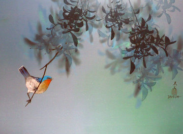 Untitled Bird in Tree 1980 18x24 Original Painting - David Lee
