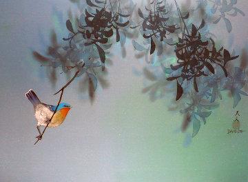 Untitled Bird in Tree 1980 18x24 Original Painting - David Lee