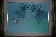 Untitled Bird in Tree 1980 18x24 Original Painting by David Lee - 1