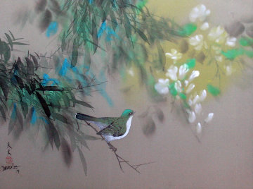 Untitled (Bird on Branch with Flowers)  1979 18x24 Original Painting - David Lee