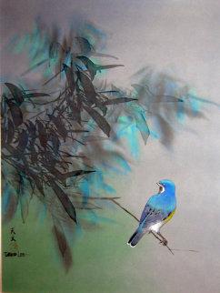 Blue Quiet Watercolor 1984 29x23 Watercolor by David Lee