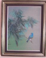 Blue Quiet Watercolor 1984 29x23 Watercolor by David Lee - 1