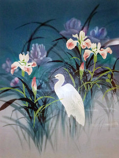 Untitled Egret Painting 48x36 Huge Original Painting - David Lee
