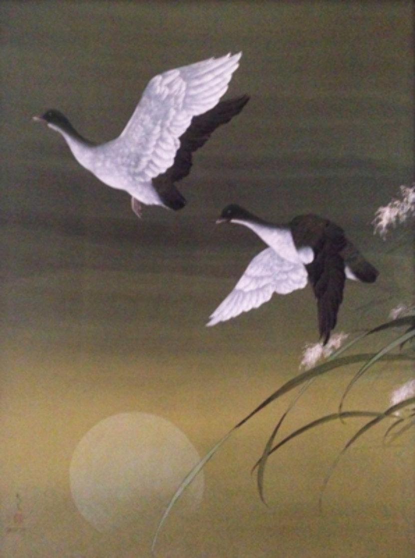 Untitled Cranes Watercolor 1973 40x30 Watercolor by David Lee
