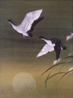 Untitled Cranes Watercolor 1973 40x30 Watercolor by David Lee - 0
