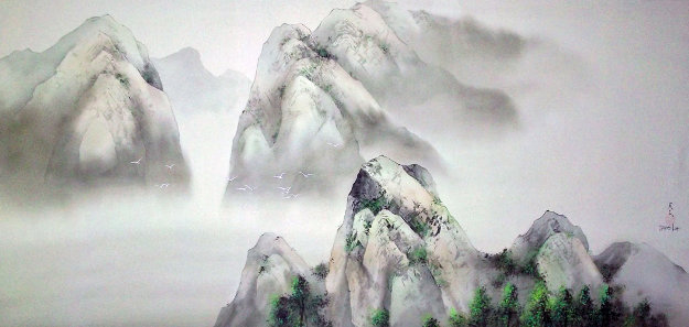 Passage to Emerald Mountain Watercolor 1997 34x58 Original Painting by David Lee