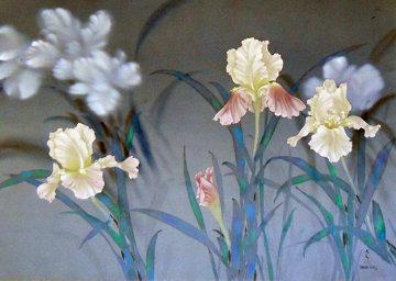 Iris 1980 30x40 on Silk Original Painting - David Lee