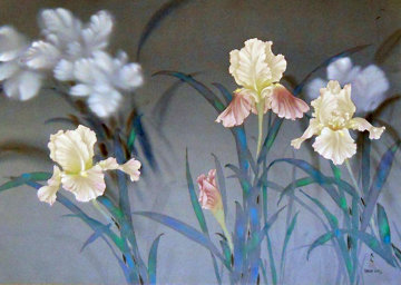 Iris 1980 30x40 on Silk Huge Original Painting - David Lee