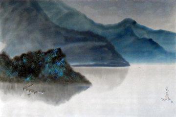 Remember a Rainy Day 1980 34x46 Huge Original Painting - David Lee
