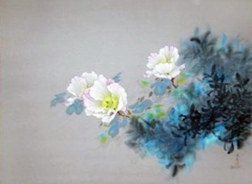 Delicate White Floral 1995 38x48 Original Painting by David Lee