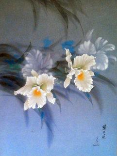 Untitled Flowers 1978 33x29 Original Painting by David Lee