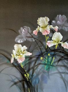 Wild Irises 1995 37x47 Huge Original Painting - David Lee