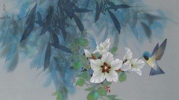 Taste of Nectar on silk  Original Painting - David Lee