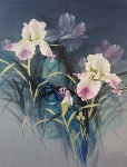 Irises 50x38 Original Painting - David Lee