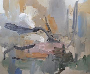 Voyager #28 Diptych 2006 80x96 Huge Original Painting - Luc Leestemaker