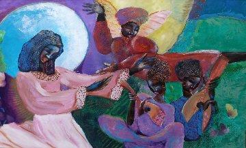 Untitled Painting 1990 28x44 Huge Original Painting - Lee White