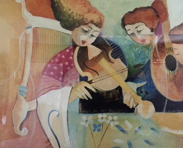 Girls With Instruments 42x57 Super Huge Original Painting - Lee White