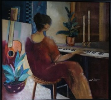 Woman With Piano 52x55 Super Huge Original Painting - Lee White