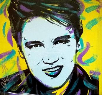 Elvis 18x18 Original Painting - Allison Lefcort