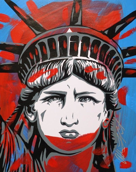 Statue of Liberty 32x28 Works on Paper (not prints) by Allison Lefcort