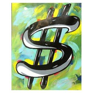 Dollar Sign 32x28 Original Painting by Allison Lefcort