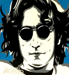 John Lennon NYC VII 2006 32x32 Original Painting - Allison Lefcort