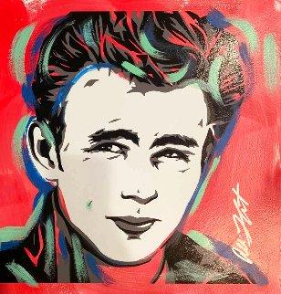 James Dean - Red 18x18  Original Painting - Allison Lefcort