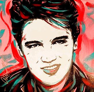 Elvis Presley - Pink 18x18 Original Painting - Allison Lefcort