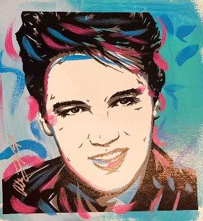 Elvis Presley - Sky Blue 18x18 Original Painting - Allison Lefcort