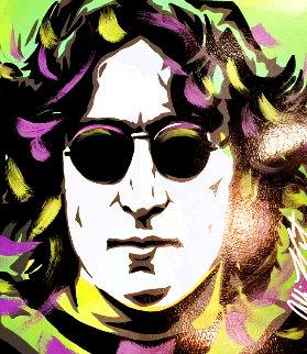 John Lennon - Green 18x18 Original Painting - Allison Lefcort