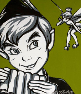Peter Pan and Tinkerbell 2010 22x30 Original Painting - Allison Lefcort
