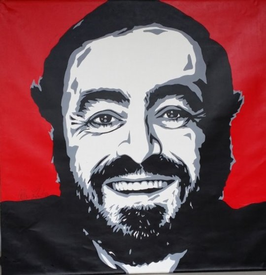 Pavarotti 1997 48x48 Original Painting by Allison Lefcort