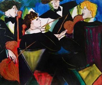 Quintet Bleu Embellished  Limited Edition Print - Linda LeKinff