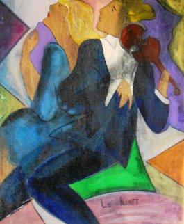 Simone At Cyril on wood 2000 30x26 Original Painting by Linda LeKinff