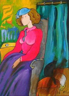 In the Living Room on wood 2006 25x21 Original Painting by Linda LeKinff