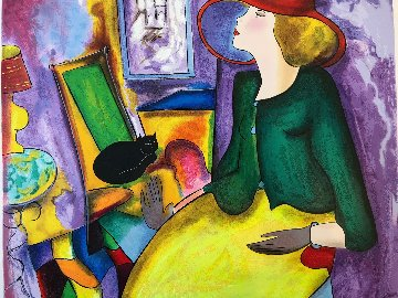 Lady and Black Cat  Limited Edition Print by Linda LeKinff