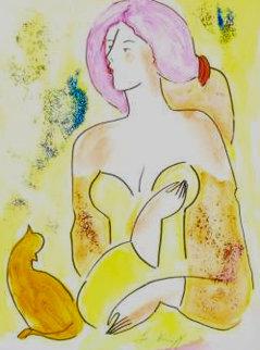 Moreno Et La Belle 2000 18x14 Watercolor by Linda LeKinff