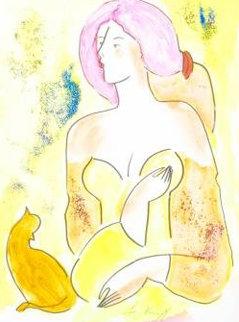 Moreno Et La Belle Watercolor 2000 17x14 Watercolor - Linda LeKinff