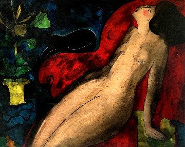 Petit Nu Discret 1996 32x25 Original Painting - Linda LeKinff