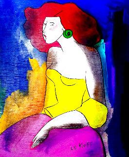 Mina Pozzi 2005 22x18 Original Painting - Linda LeKinff