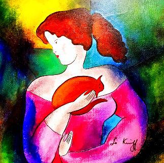 Woman With Cat 18x18 Original Painting - Linda LeKinff