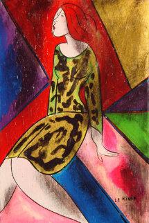 l Avocet on wood 1997 13x9 Original Painting - Linda LeKinff