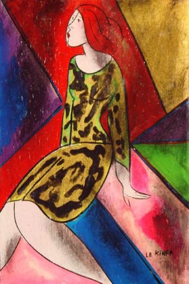l Avocet on wood 1997 13x9.5 Original Painting by Linda LeKinff