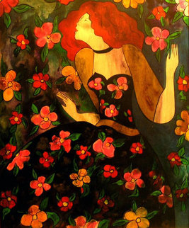 Florilege (wood panel) 1998 29x23 Original Painting - Linda LeKinff