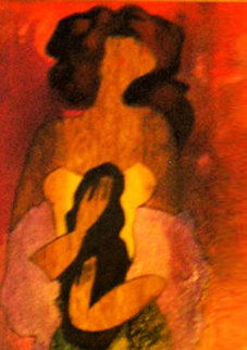 Lili II on wood 2002 25x8 Original Painting - Linda LeKinff