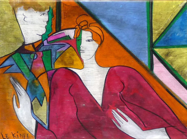 Alfred Et Marion 1994 8x12 Original Painting by Linda LeKinff