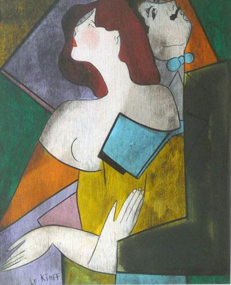 Karl Et Berangere on wood 1994 25x22 Original Painting by Linda LeKinff