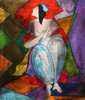 Julie Au Bonnet on wood 1998 21x18 HS twice Original Painting by Linda LeKinff